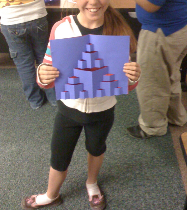 3'd grader proudly shows off her new fractal