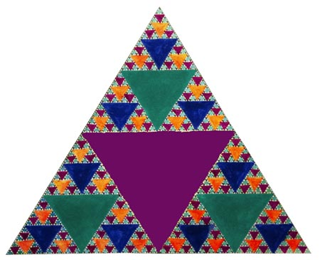One triangle made by a student showing the same pattern at smaller and smaller scales.