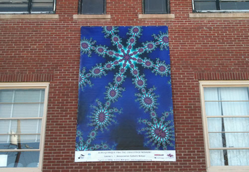 Fractal Challenge Winner Lauren Lopez' winning artwork, on the side of the Harwood Art Center.