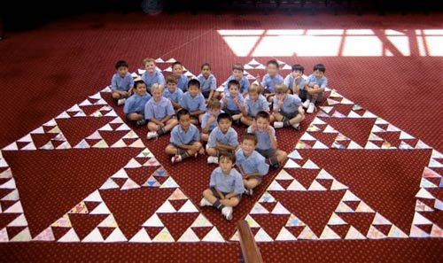 Children from the Camberwell Grammar School in Victoria, Australia. While most of the 4036 triangles in the Trianglethon were made by students in New Mexico, many triangles came from much further.