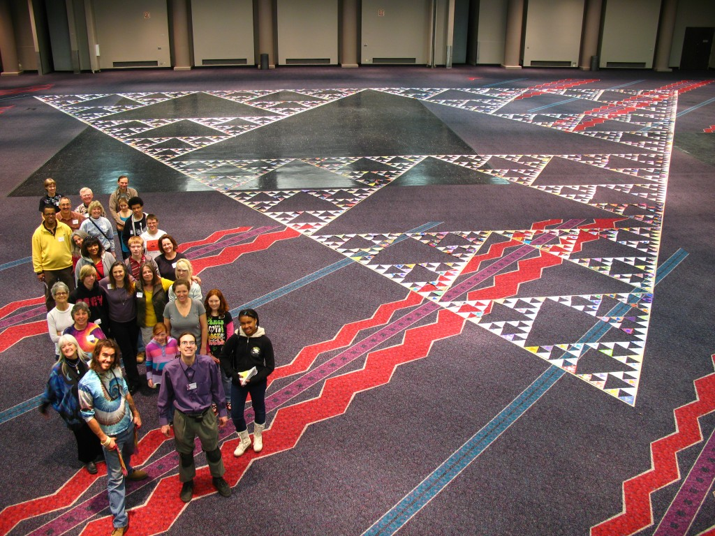 At one point, this was the worlds largest fractal triangle, made of 2187 (3^7) triangles. It was 92' on a side and filled up a banquet room.