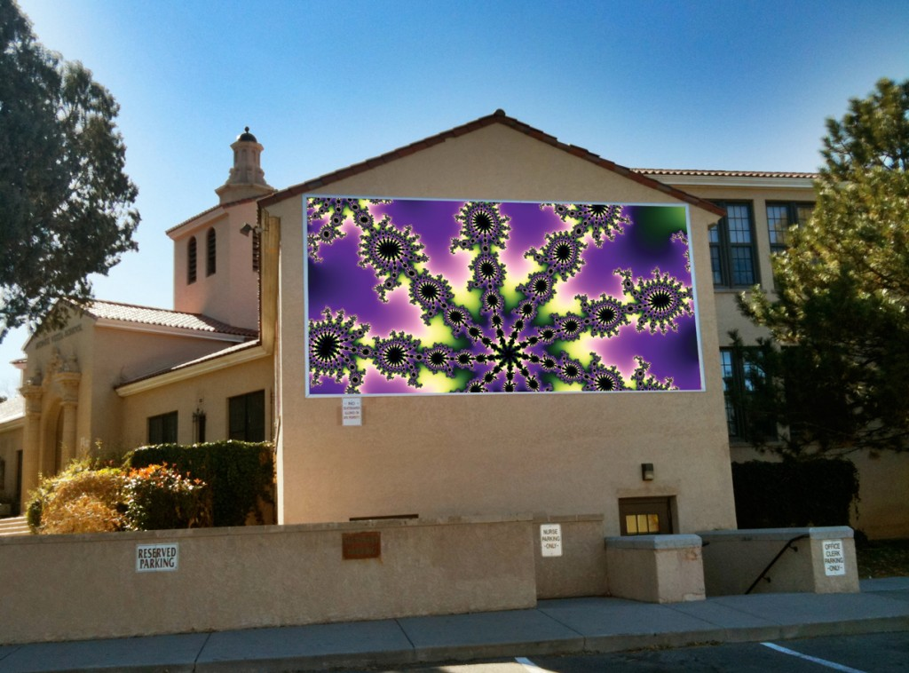 This glimpse into the Mandelbrot Set fractal was made by 3d grader Olivia K. It is one of three winning fractals that decorate Monte Vista Elementary school in Nob Hill, ABQ.
