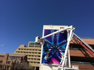 Hanging the fractal at the parking structure in downtown Albuquerque at 3rd and Silver